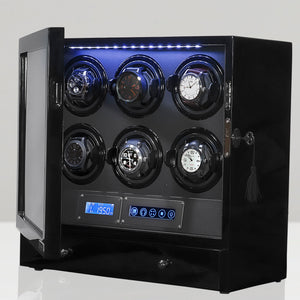 Arcanent 6 + 2 Slot Watch Winder LCD Digital Black Quality Made w/ Ball Bearings