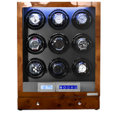 Arcanent 9 + 2 Slot Watch Winder LCD Digital Honey Burlwood Quality Made w/ Ball Bearings