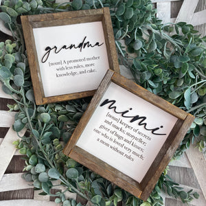 Grandmother Definition Shelf Sitter- Customize your title!