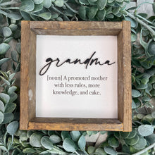 Load image into Gallery viewer, Grandmother Definition Shelf Sitter- Customize your title!