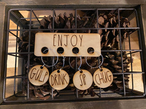 Wooden Rae Dunn inspired wine charms