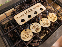 "Load image into Gallery viewer, Wooden ""Make Pour Choices"" wine charms"