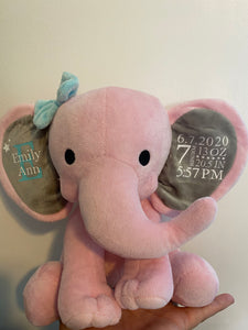 Personalized stuffed elephant | customized | new baby | baby gift