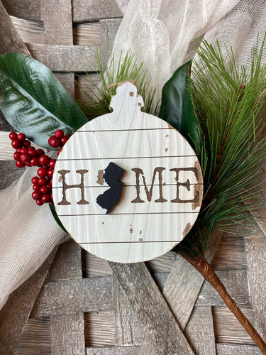Home NJ ornament with Raised State Silhouette