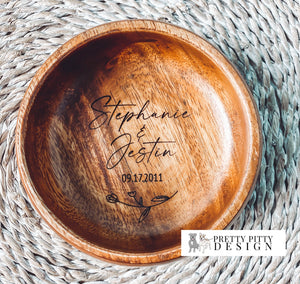 Personalized engraved Acacia Ring Dish with Flower