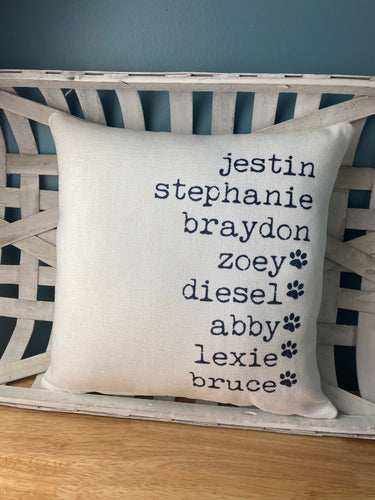 Family Names Pillow (with insert)