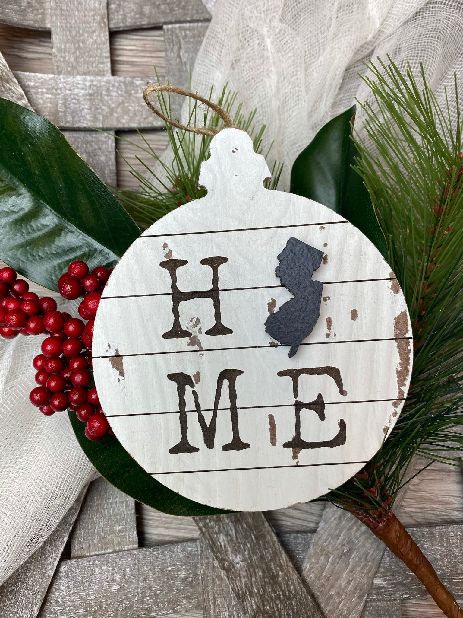 Home NJ ornament with Large Raised State Silhouette