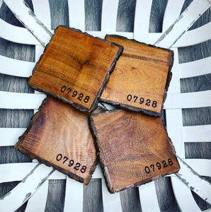 Square Live Edge Zip Code Coasters