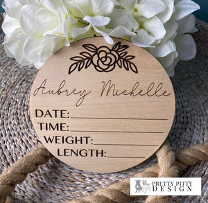 Personalized Floral Birth Stat Circle