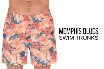Memphis Blue Printed Swim Shorts