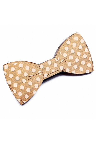 Brand Breeders Brown Polka Dot Party Wooden Bow Tie - CheapUndies.com