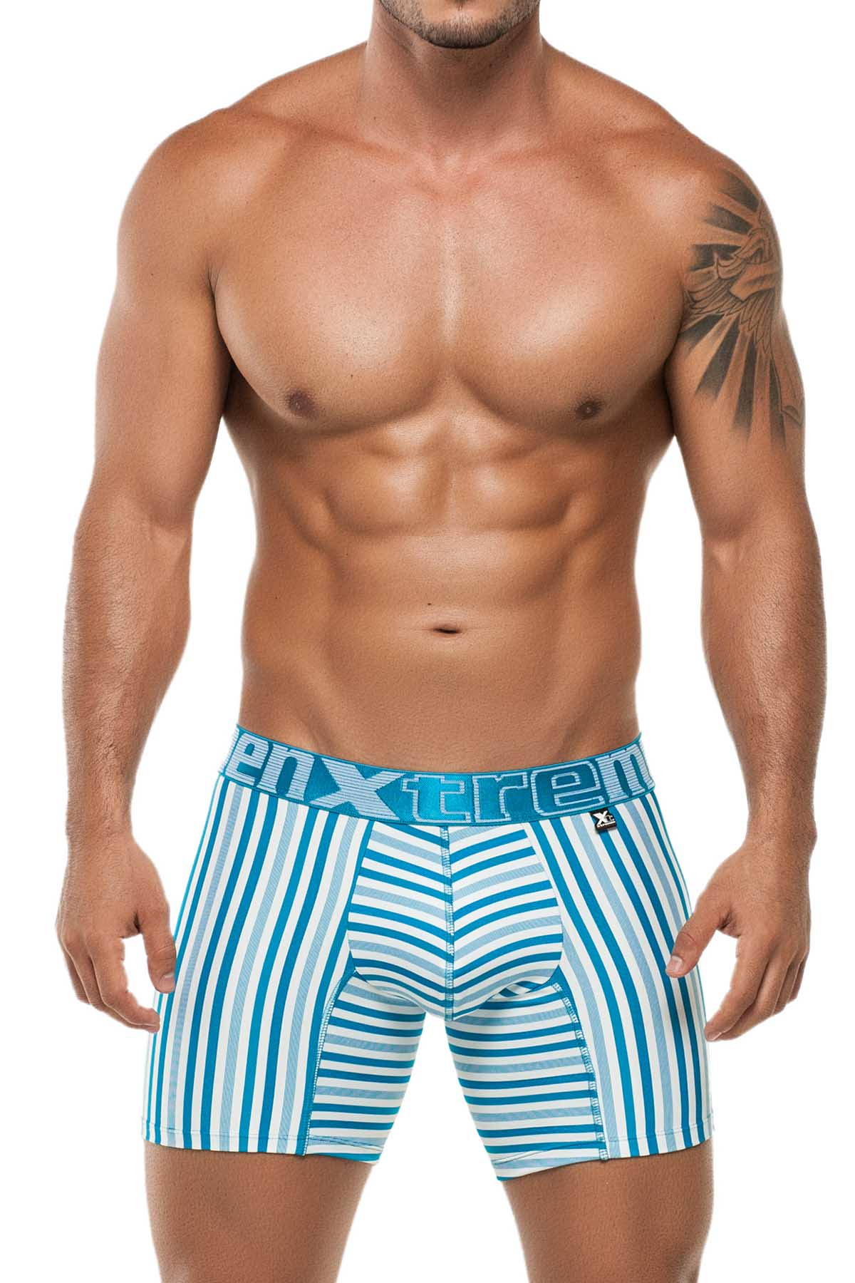 Xtremen Blue Classic Stripes Microfiber Boxer Brief