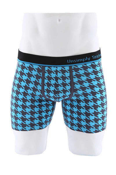 Unsimply Stitched Blue Houndstooth Boxer - CheapUndies.com