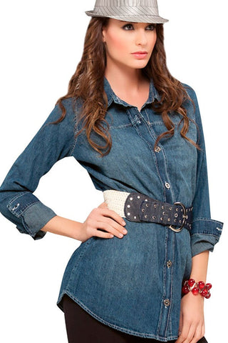 Fiory Dark Blue Chambray Shirt