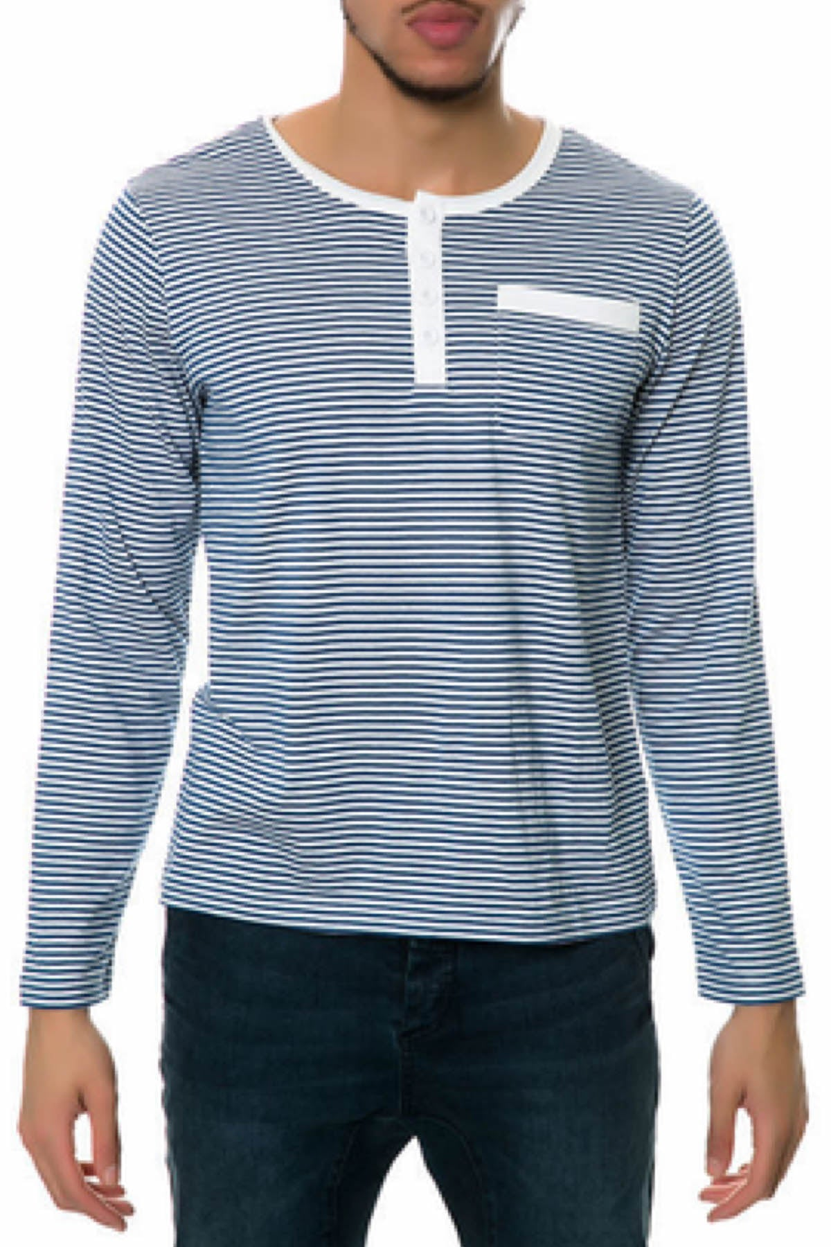 Oxymoron Blue & White Genuine Forgery Long-Sleeve Henley