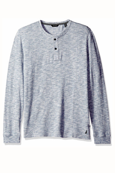 Nautica Anchor-Blue Slim-Fit Long-Sleeve Henley