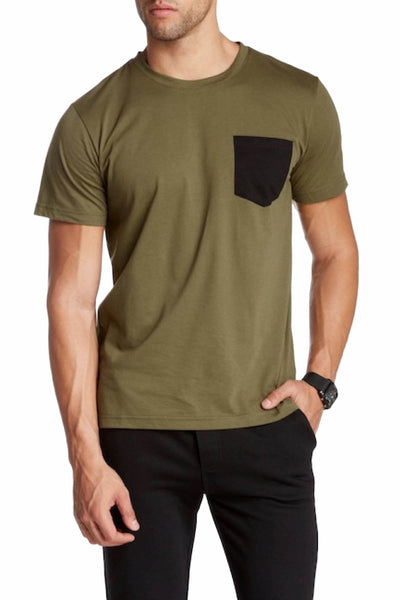 Oxymoron Olive Pretty Ugly Pocket Tee - CheapUndies.com
