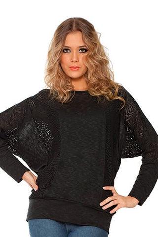 Fiory Black Open Knit Pullover