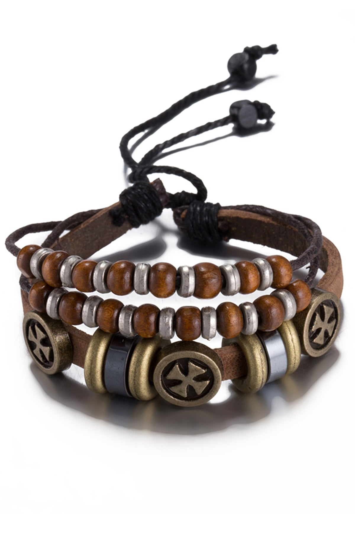 Light Brown Leather Independent Charm Bracelet
