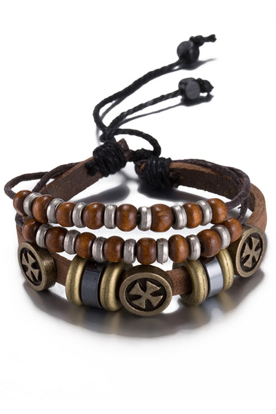 Light Brown Leather Independent Charm Bracelet - CheapUndies.com