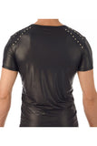 Gregg Homme Black Leather-Look Muscle T-Shirt