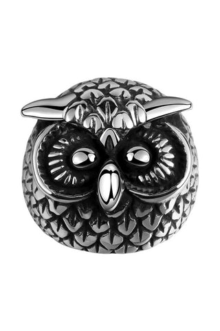 Gomaya Retro Silver Owl Stainless Steel Ring