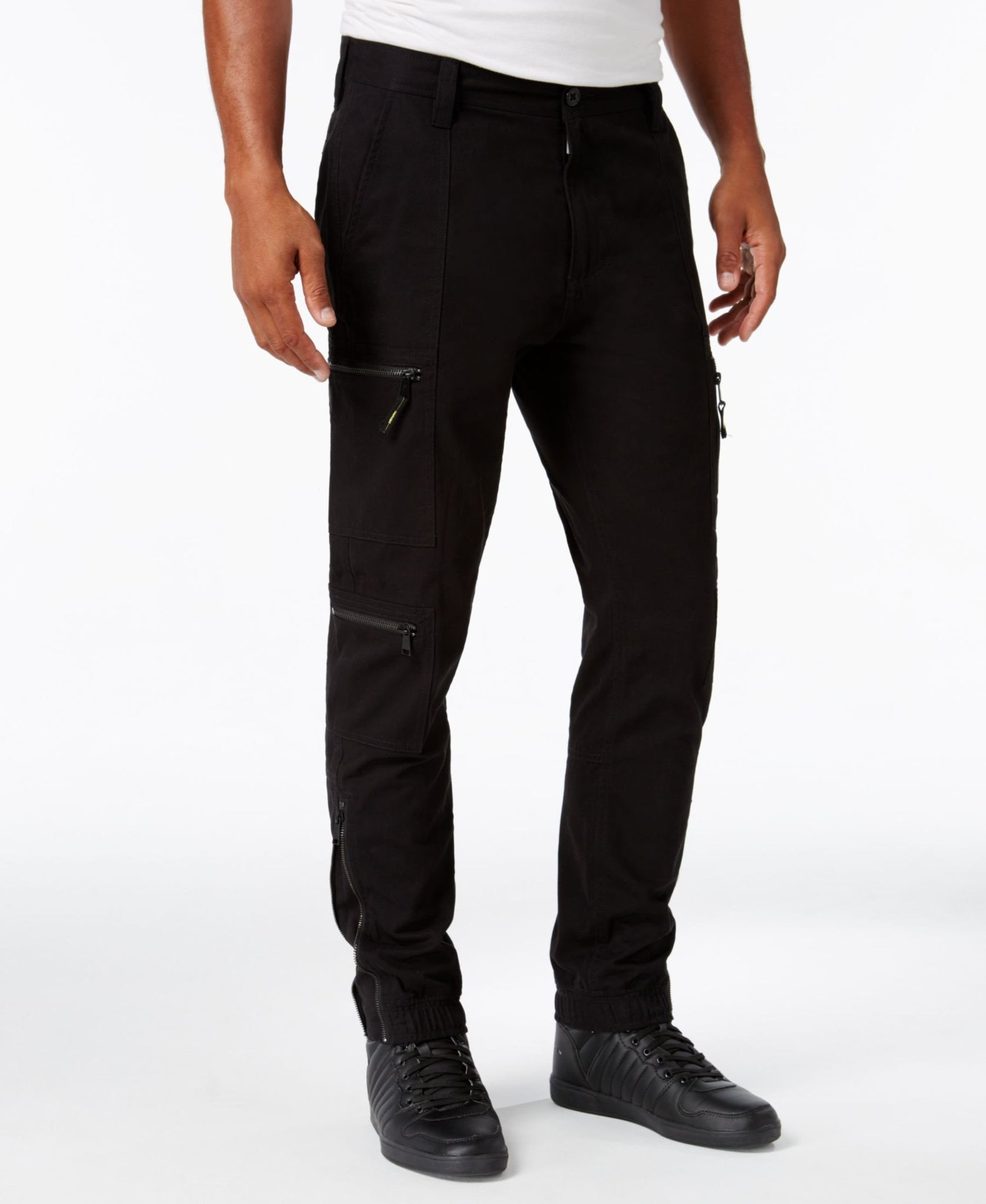 Sean John Black Zip-Flight Jogger Pant