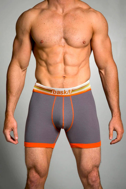 Baskit Charcoal-Grey Ribbed Boxer Brief - CheapUndies.com