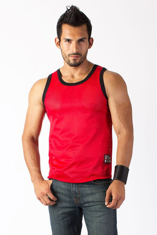 Timoteo Red Mesh Tank Top
