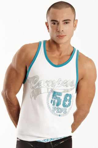 Pipe White Campus Tank Top