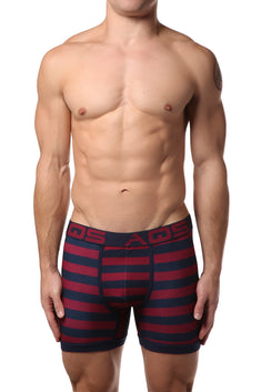 AQS 3pk Teal, Black & Burgundy Stripe Boxer Brief