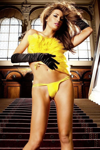 Baci Yellow Low-Rise V-String Panty with Butterfly Waist