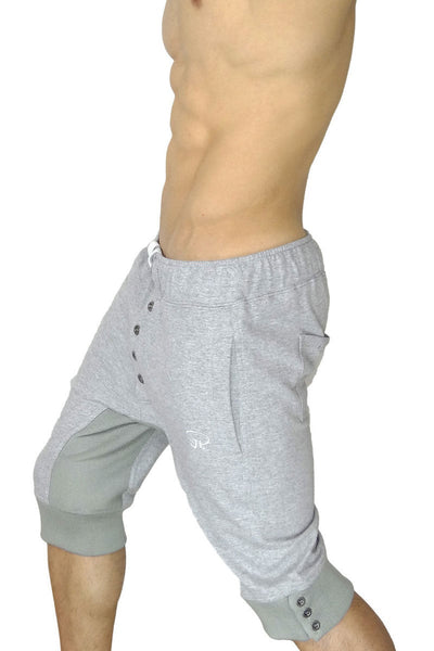 James Tudor Heather Grey Eaton Button Fly Sweat Short