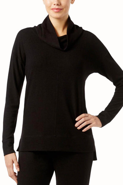 Alfani Intimates Black Brushed Fleece Cowl-Neck Pajama Top - CheapUndies.com