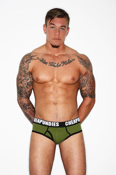 CheapUndies Army Green Impact Fly Brief