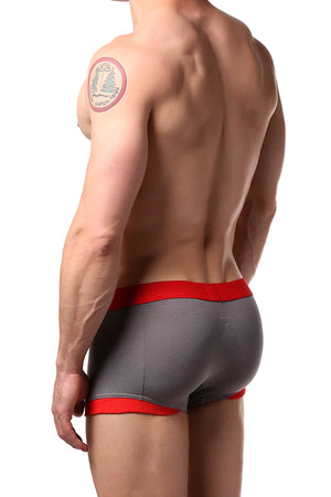 Doreanse Smoke-Grey/Red Contrast Stripe Boxer Trunk