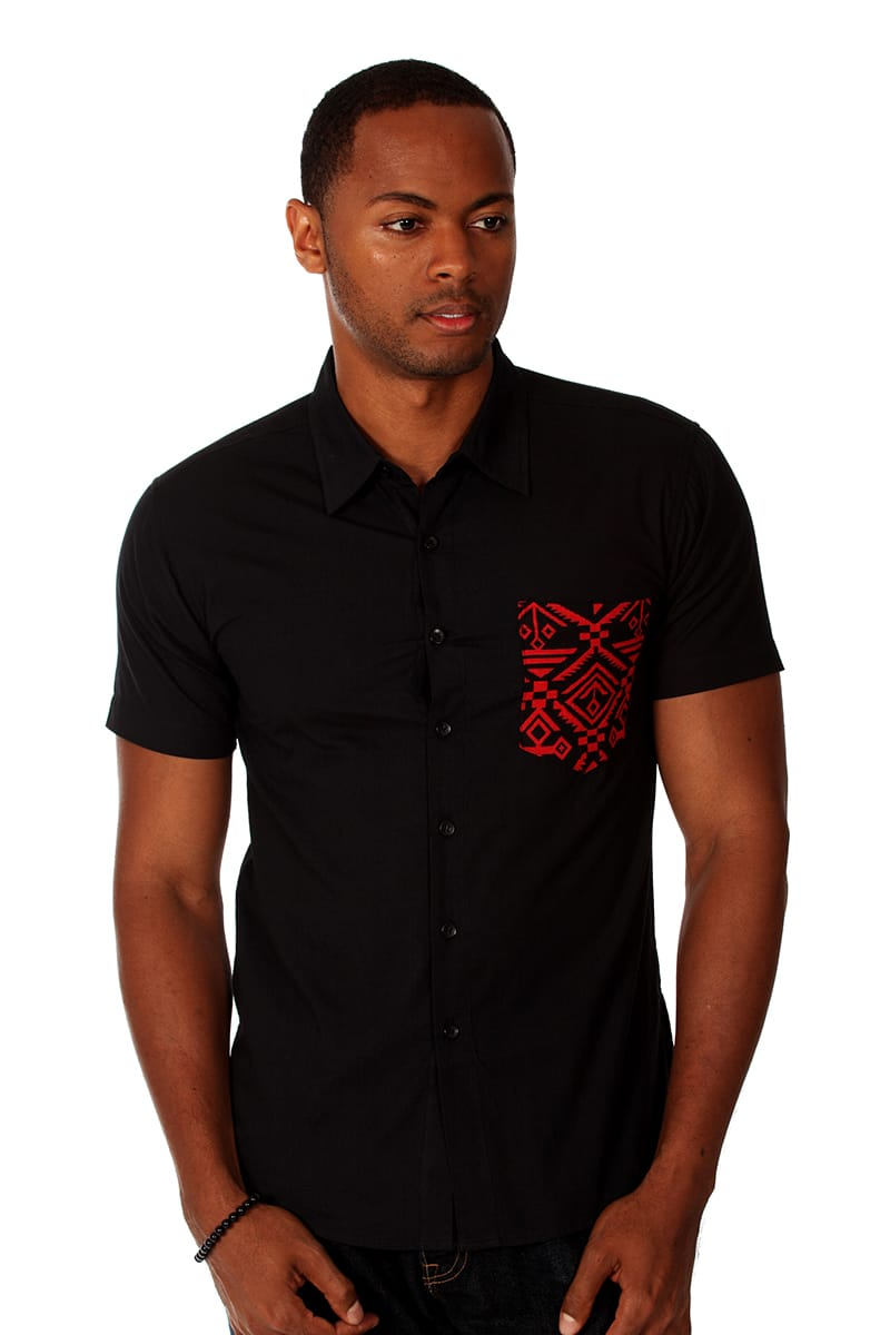 Something Strong Black Tribal Tom Button-Up