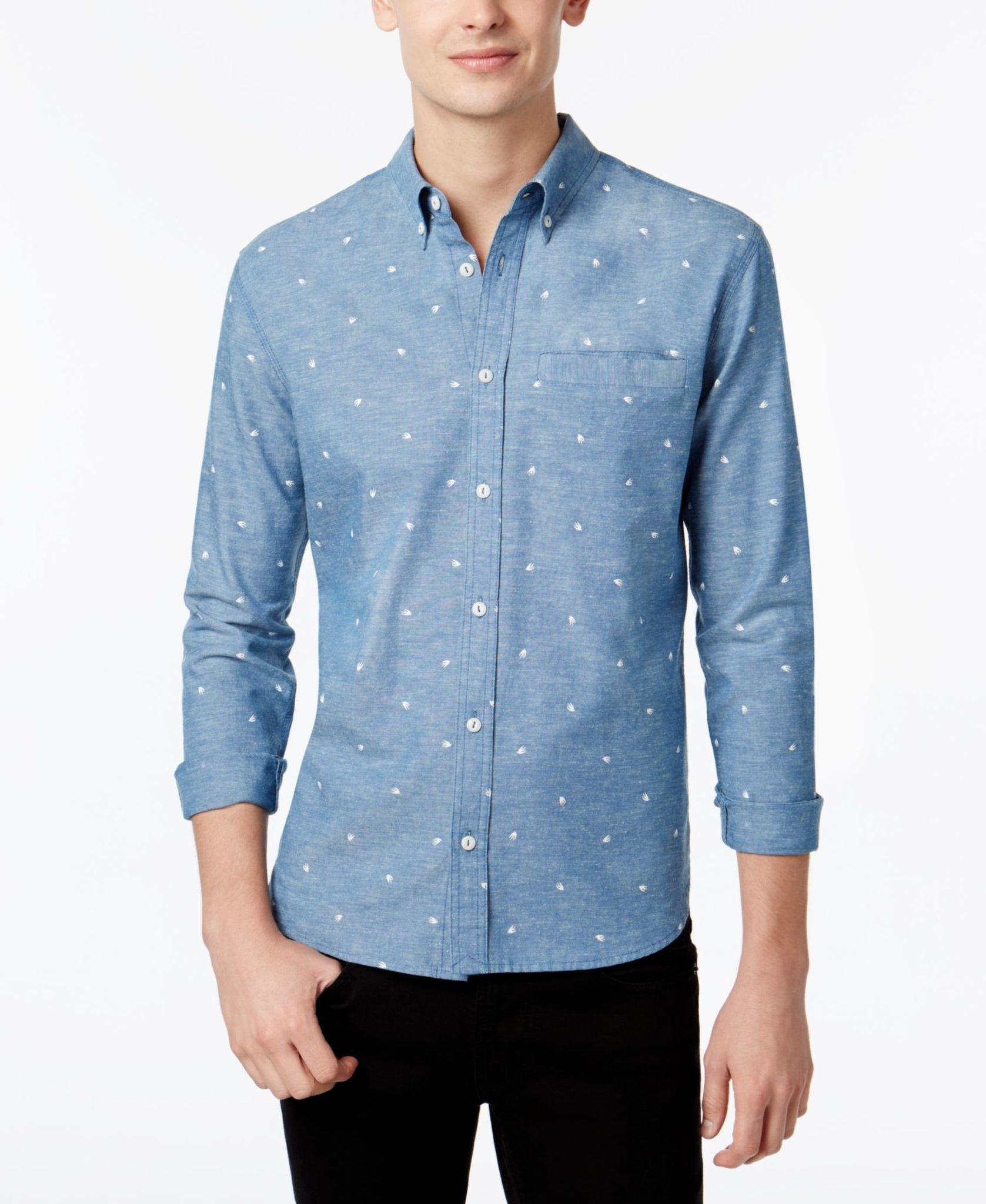 WHT SPACE by Shaun White Men's Printed Chambray Shirt