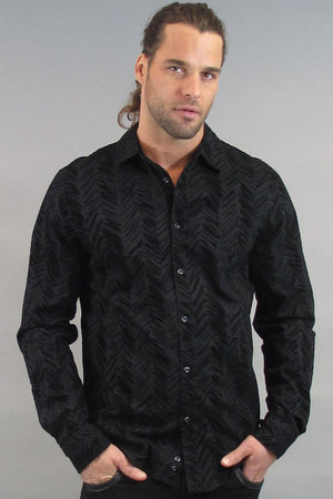 VintageRed Black Chevron Flock Button-Up