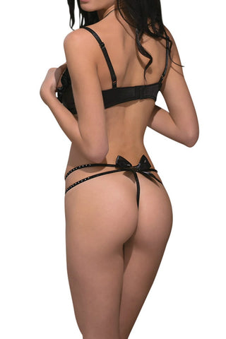 Coquette Black Bra & G String Set