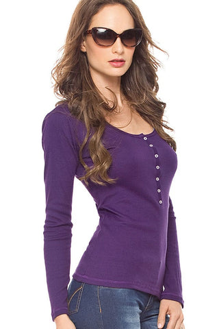 Fiory Purple Ribbed Long Sleeve Henley