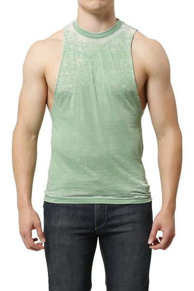 Y.M.L.A. Green Burnout Muscle Tank - CheapUndies.com