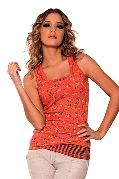 Fiory Coral Floral Tank Top
