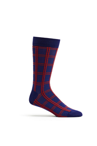 Ozone Navy Masaii Plaid Calf Sock