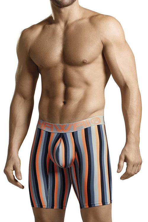 Hawai Orange Neon Stripe Long Boxer Brief - CheapUndies.com