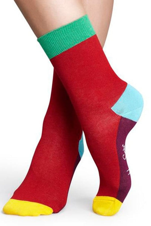 Happy Socks Red Color Block Socks - CheapUndies.com