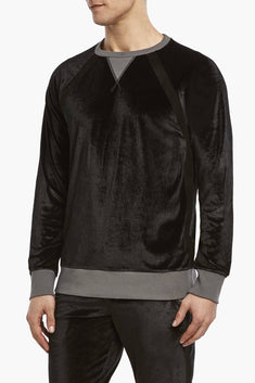 2(X)IST Black After-Hours Velour Crew-Neck Sweatshirt