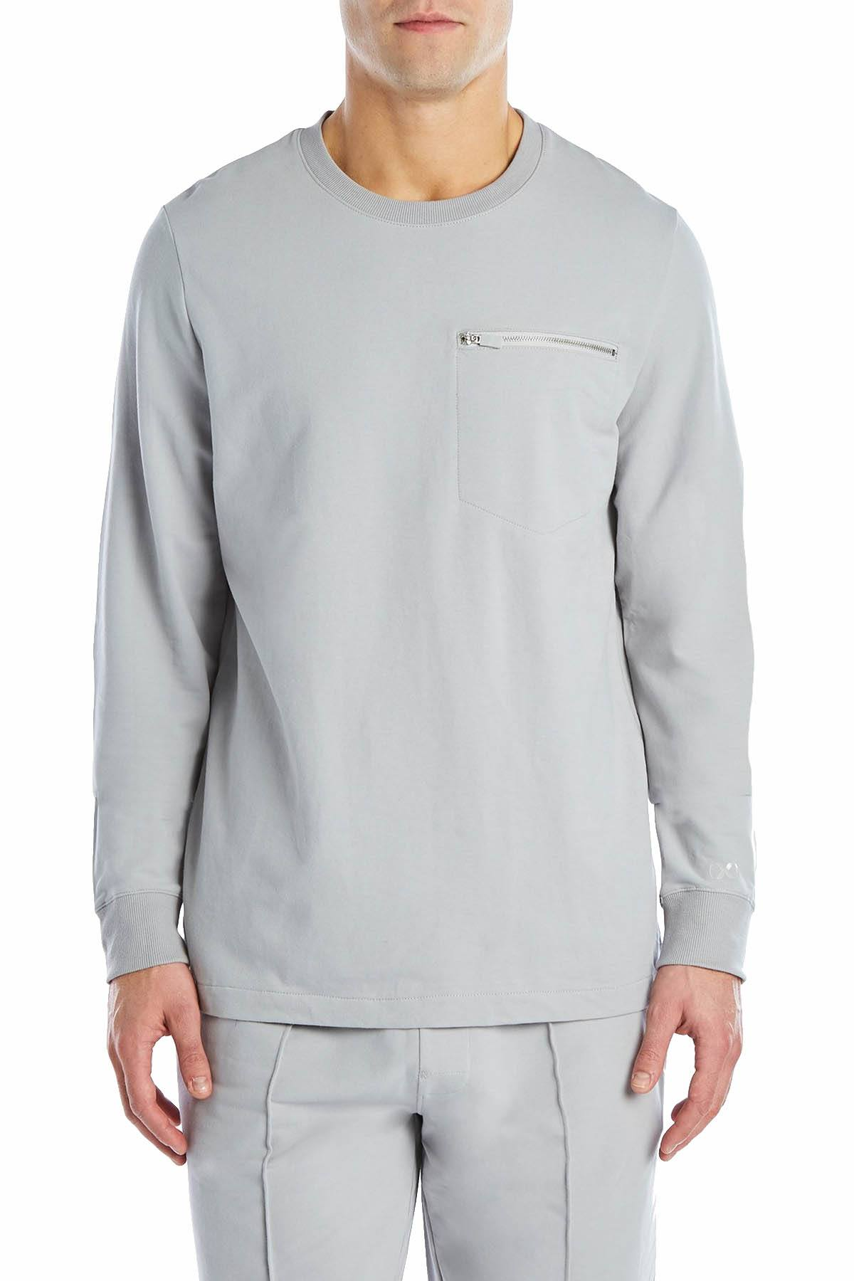 2(X)IST Cement-Grey Classic Zip-Pocket Sweatshirt