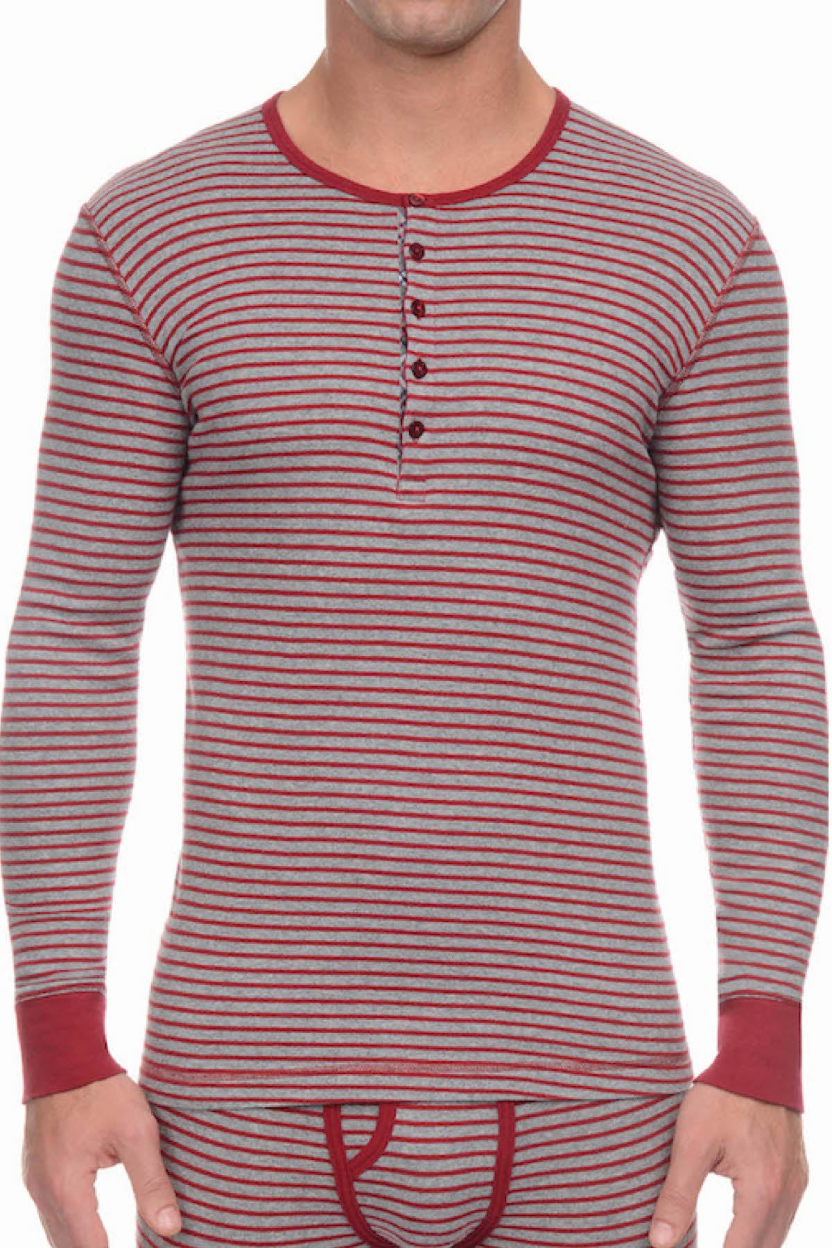 2(X)IST Cranberry & Heather Grey Essential Cotton Long Sleeve Henley