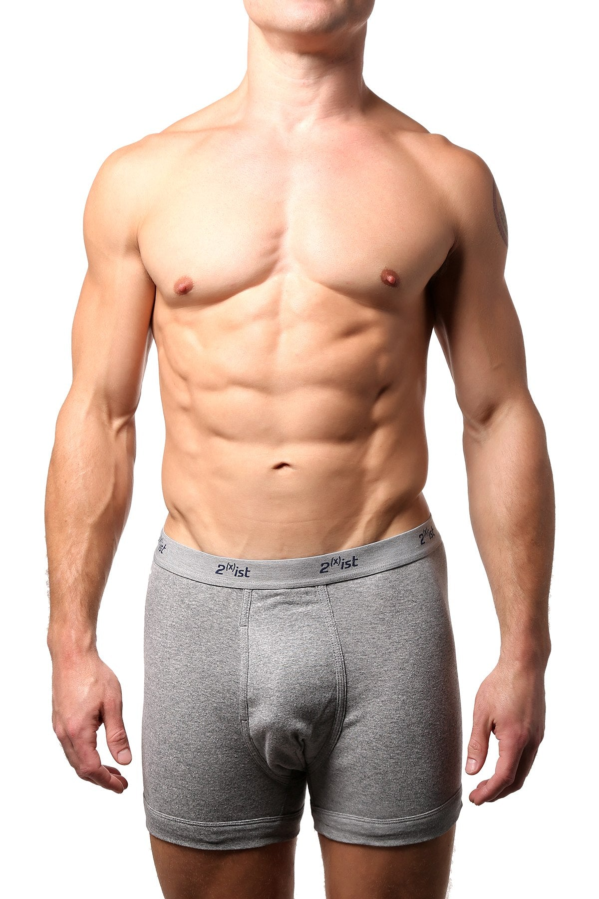 2(X)IST Grey Essential Cotton Boxer Brief
